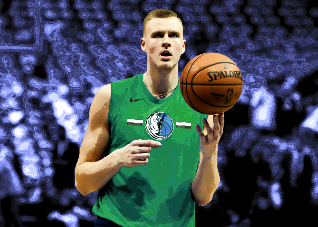 Edited picture of Kristaps Porzingis Warming Up for a game in Dallas